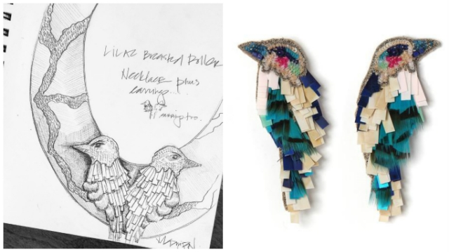 Mignonne's drawing of a Lilac Breated Roller and her creations coming to life in the MG Bird Earrings / Courtesy of Mignonne Gavigan