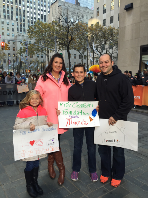 Stephanie and her husband Paul and kids Carter and Ellie on the Today Show plaza after her appearance talking with Al Roker about her win for Mazda Drive for Good Campaign for the Confetti Foundation / Photo Courtesy Stephanie Frazier Grimm