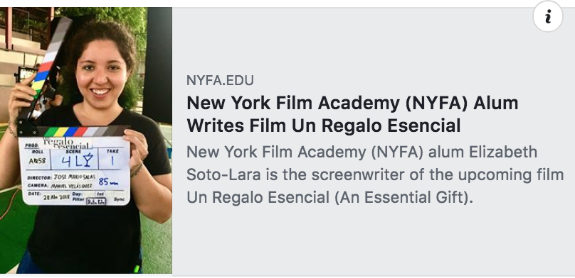 """NYFA alum Elizabeth Soto-Lara can now add a feature film to her list of screenwriting credits after finishing production on the film  Un Regalo Esencial (An Essential Gift) . Not only is she the film's  screenwriter , but Soto-Lara also served on set as the First Assistant Director""."