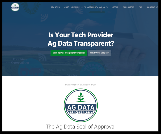The Ag Data Transparent website verifies companies that follow the Core Principles.