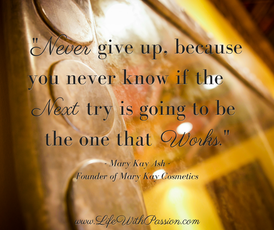 Never give up, because you never know if the next try is going to be the one that works - Kay Ash - Contact.png