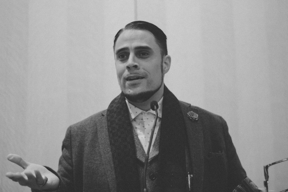 Usama Canon speaking at Yale in February 2014 (from his Facebook page)