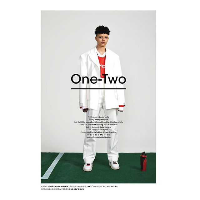 "NEW PRINT EDITORIAL ""ONE-TWO"" for @highsnobiety / team: photographer: @paolo_m_testa / Stylist: @jennyhaapala / hair: yuhi kim / mus: @ayaka_nihei / set design: @colinl_ / production: @nastiasans / talent: @igeeeeezy"