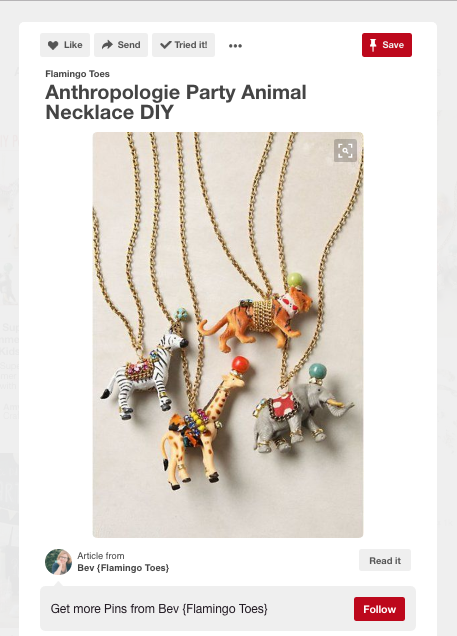 A screenshot of the Flamingo Toes DIY post pin featuring the original Anthropologie Part Animals.