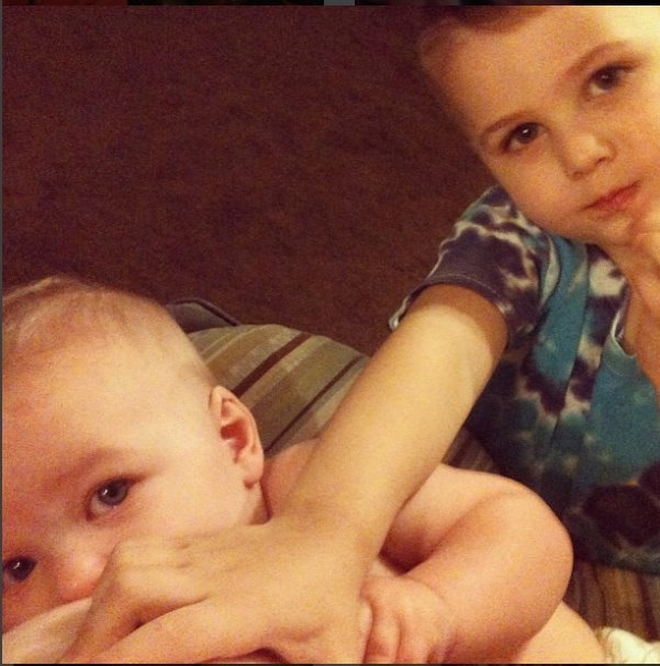 "Baby C breastfeeding at 7 months as Big Brother J ""helps"""