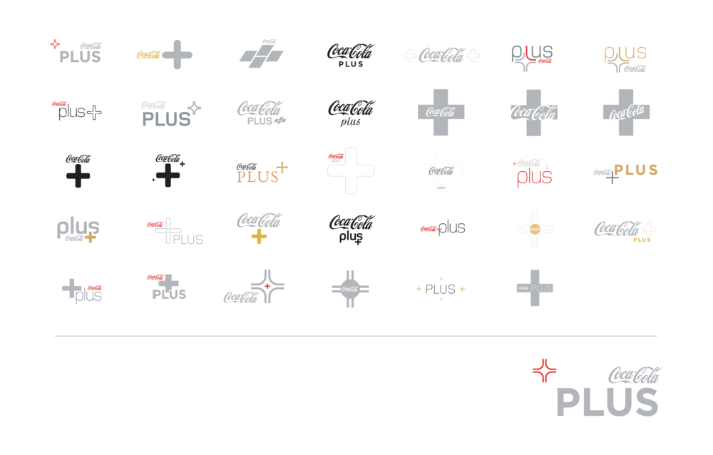 coke plus logo development