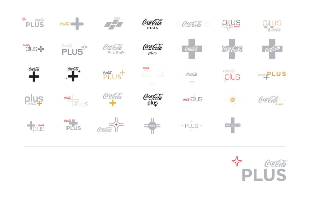 coke plus logo development