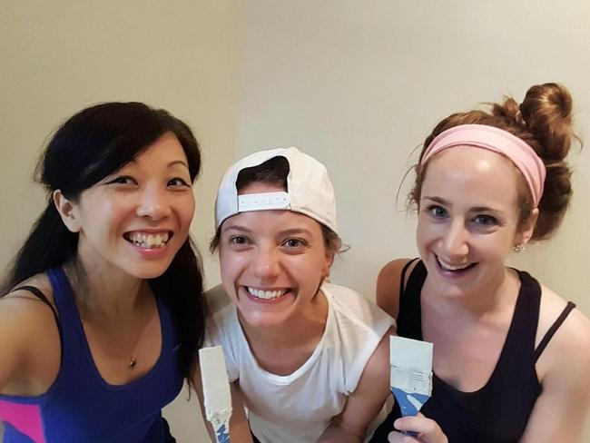 Rita of Boston Bonbon, Caroline of Nutty Life, and Michelle of Kitchen Millie painting our new space!