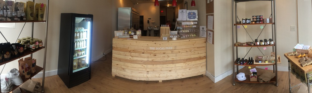 Our cute storefront :) p.s. the counter isn't curved...it's just the panorama!