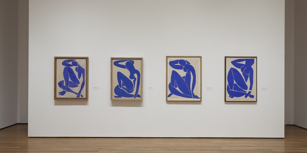 The Blue Nudes on display at the Museum of Modern Art (MoMA) exhibition, Matisse : The Cutouts. 2015