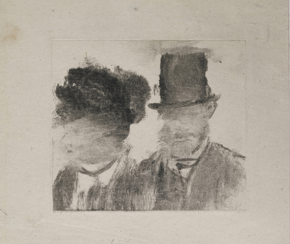 "Edgar Degas.  Heads of a Man and a Woman (Homme et femme, en buste).  c. 1877–80. Monotype on paper, plate: 2 13/16 x 3 3/16"" (7.2 x 8.1 cm) . British Museum, London."