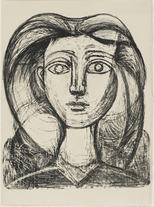 Pablo Picasso (Spanish, 1881–1973) Long-Haired Young Girl, November 9, 1945 Lithograph, 3rd state; 1 of 18 artist reserved proofs plate plate: 15 x 12-1/2 in. (38.1 x 31.8 cm); sheet: 17-1/2 x 12-3/4 in. (44.5 x 32.4 cm) Norton Simon Art Foundation, Gift of Jennifer Jones Simon, M.2001.1.43.G © 2016 Estate of Pablo Picasso / Artists Rights Society (ARS), New York