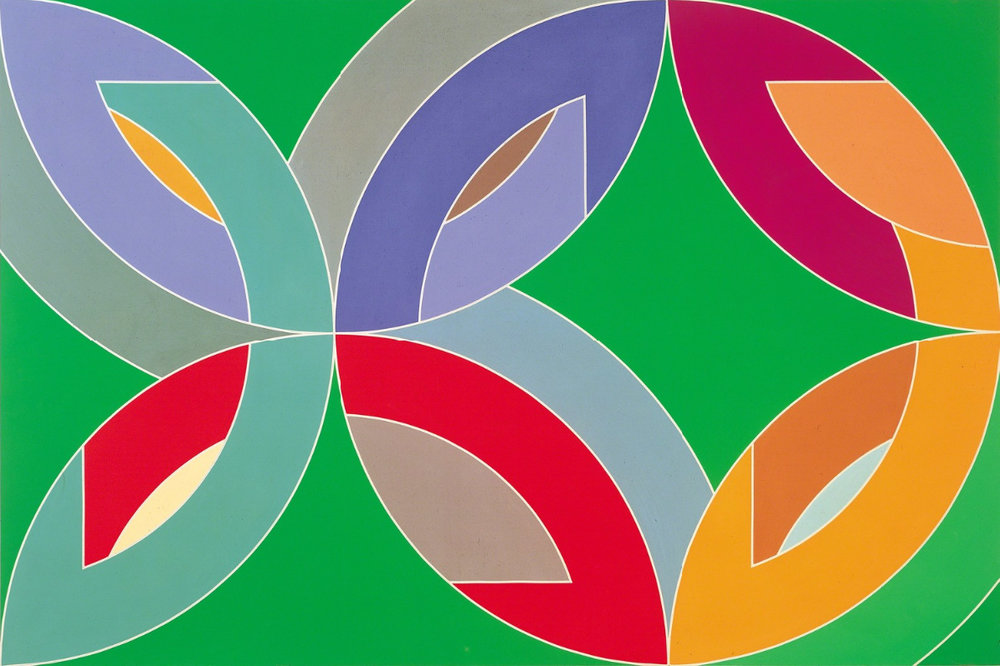 Frank Stella,   Lac Laronge III  , 1969. Acrylic on canvas, 108 x 162 in. (274.3 × 411.5 cm). Albright-Knox Art Gallery, Buffalo, New York; Gift of Seymour H. Knox, Jr., 1970, K1970:8. © 2016 Frank Stella / Artists Rights Society (ARS), New York