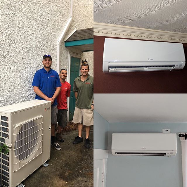 Rain couldn't stop us from getting our ductless install done this week #mitsubishihvac #hvac #norfolk