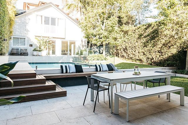 Saturday's done right. Our Randwick pool and garden featuring flooring and furniture from @ecooutdoor and plants from @exotic_nurseries