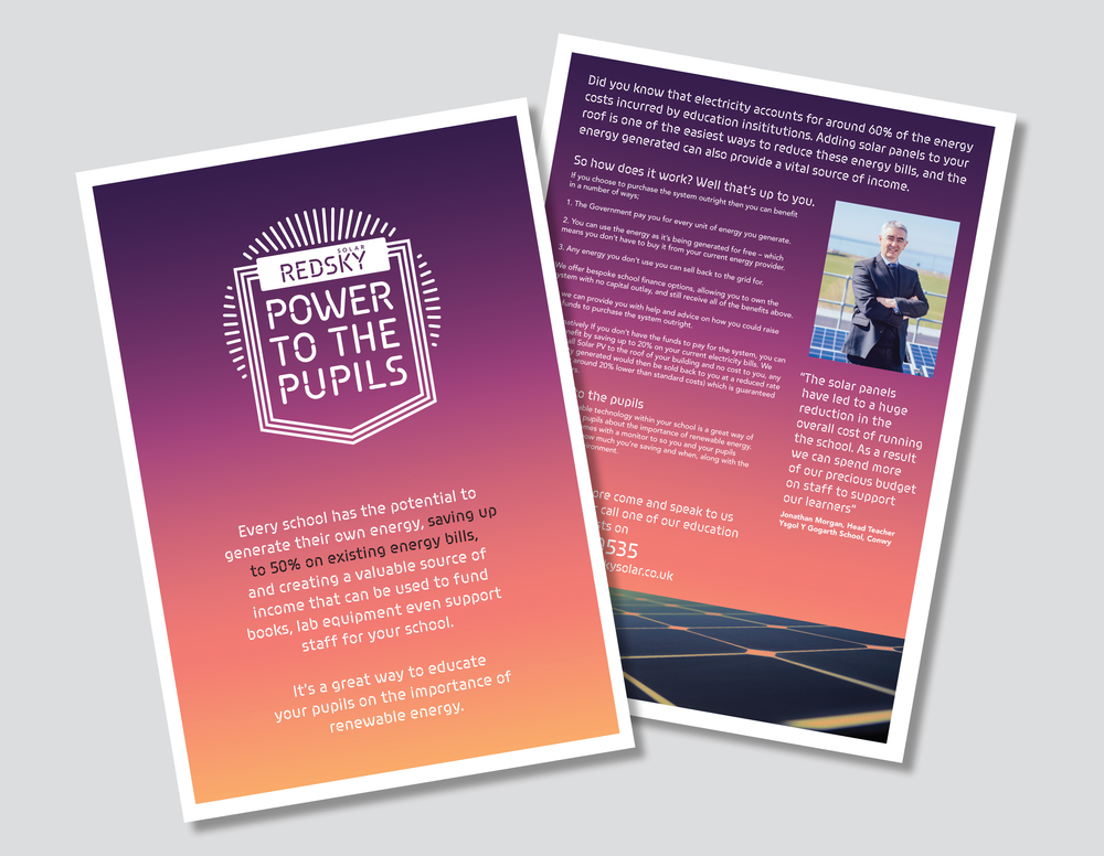 Power to the Pupils Design and Marketing campaign Leaflet design