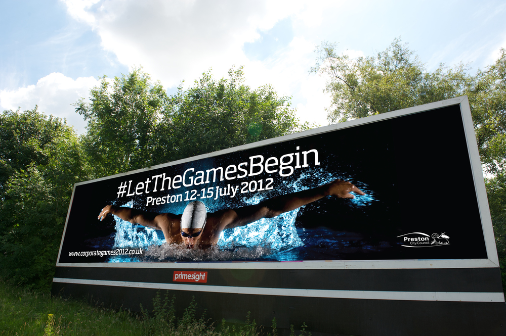 Corporate Games Preston Design and Marketing Campaign billboard