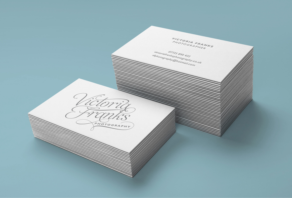 Victoria franks wedding photography business card design