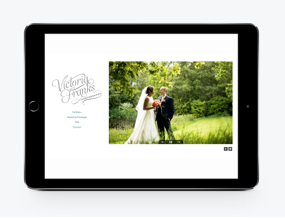 Victoria franks wedding photography website design