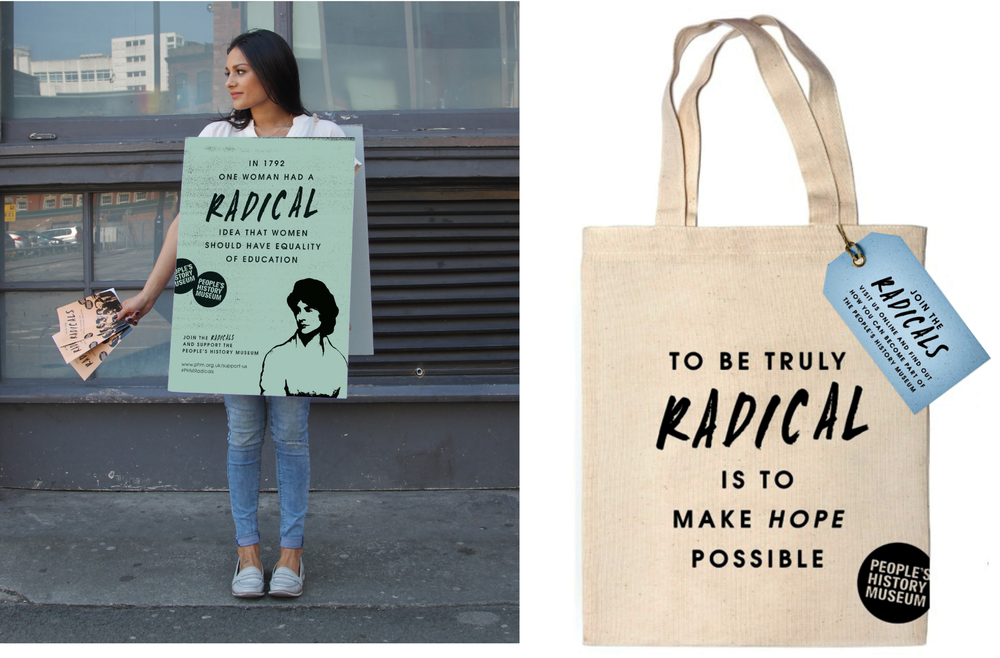 Join the Radicals campaign design and marketing bag and board design
