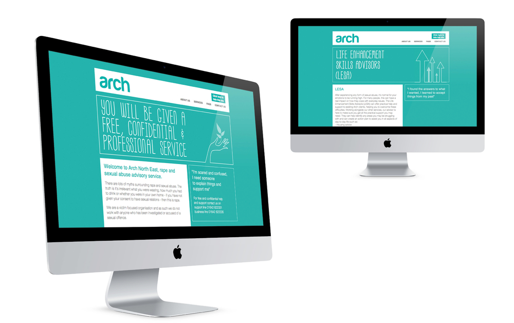 Arch North East Charity Branding website design
