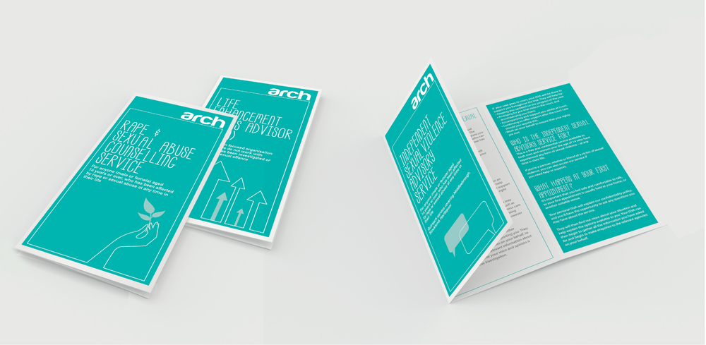 Arch North East Charity Branding leaflet design