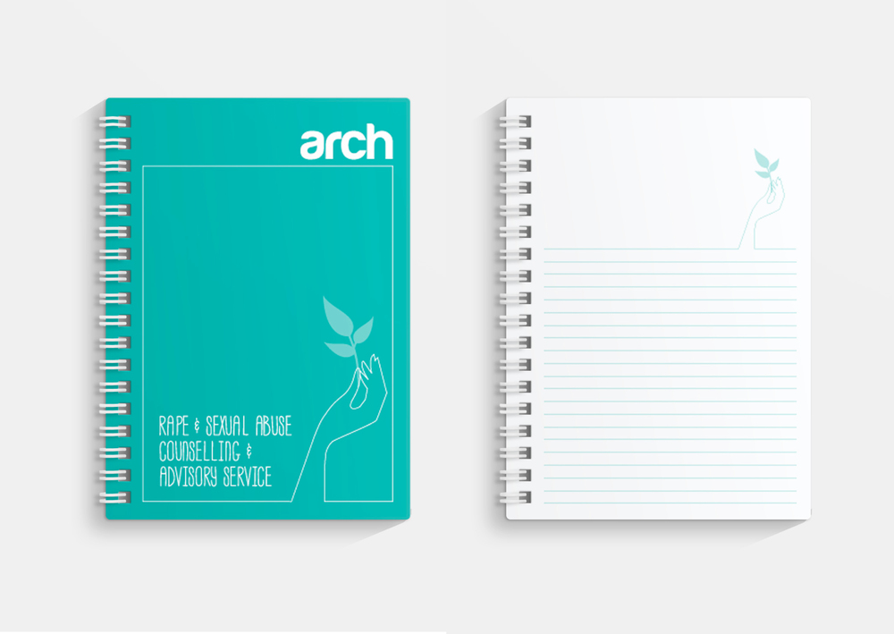 Arch North East Charity Branding notebook design