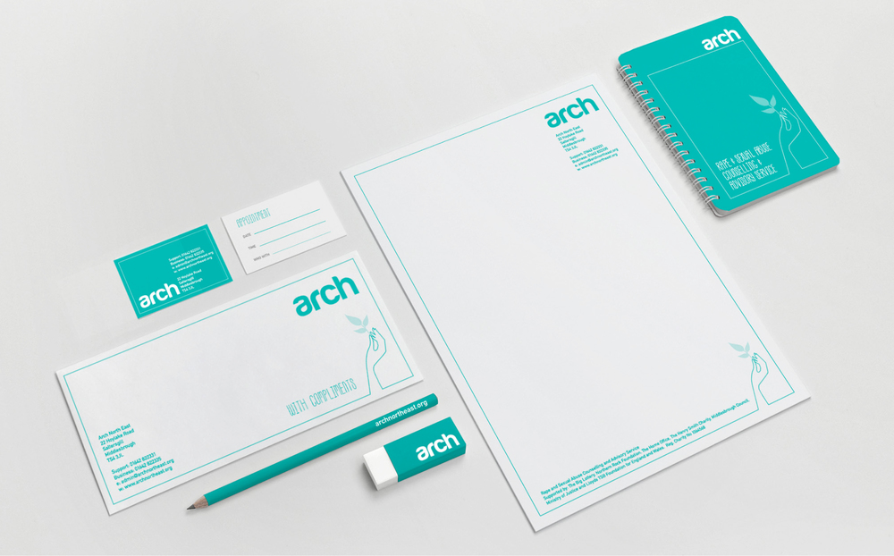 Arch North East Charity Branding Stationery Design
