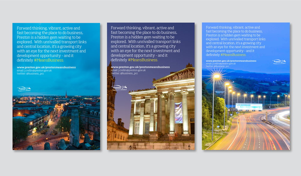 Discover Preston Posters Design and Marketing material