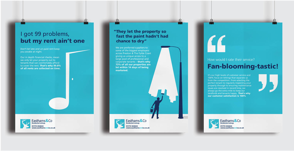 Easthams & Co Letting agents brand design posters