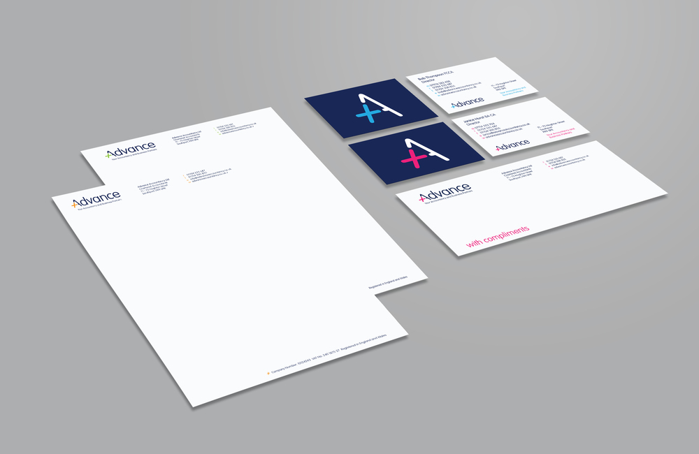 Advance Accountancy brand stationery logo identity design