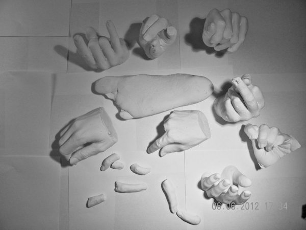 The final collection of classmates' hands, some fingers, and one foot.
