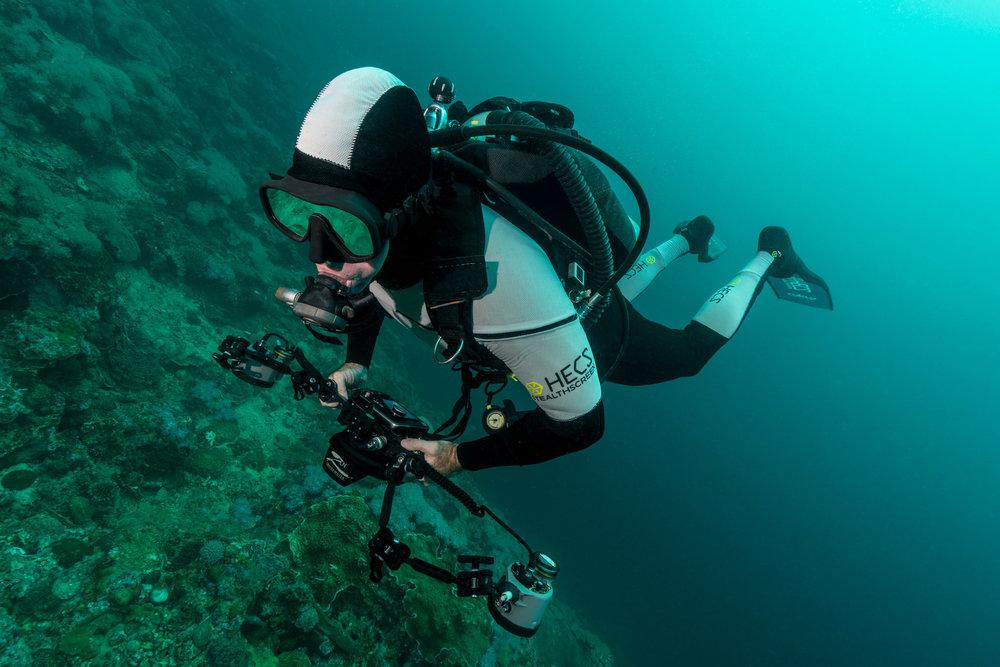 HECS semi-dry scuba suit underwater