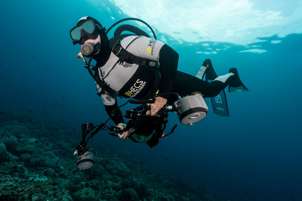 HECS semi-dry scuba suit against the surface.