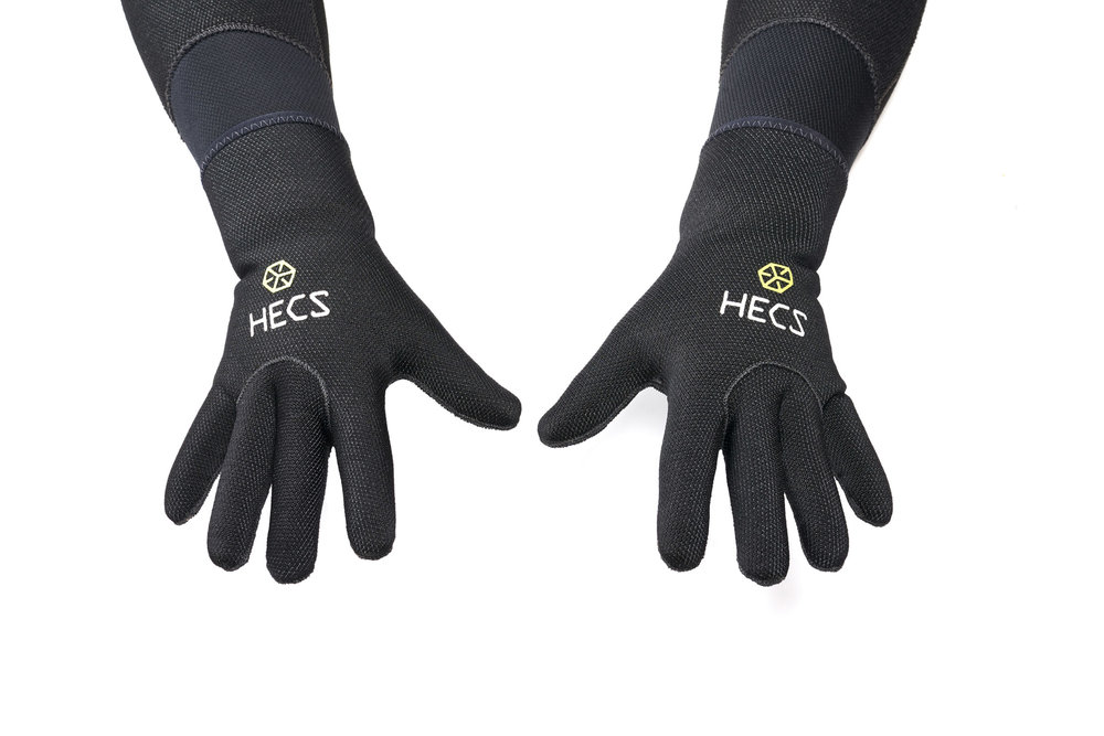 The HECS semi-dry scuba suit with gloves.