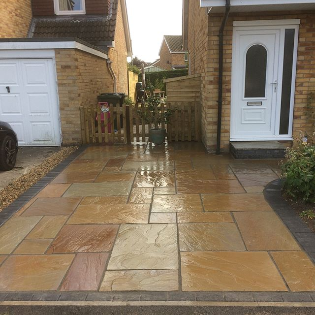 Indian sandstone driveway