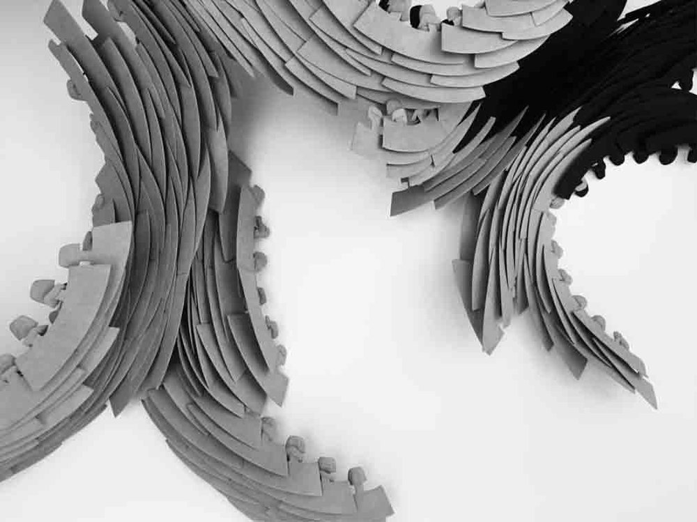 detail | die-cut hand-linked 'susurrus' sculpture for DSMNY