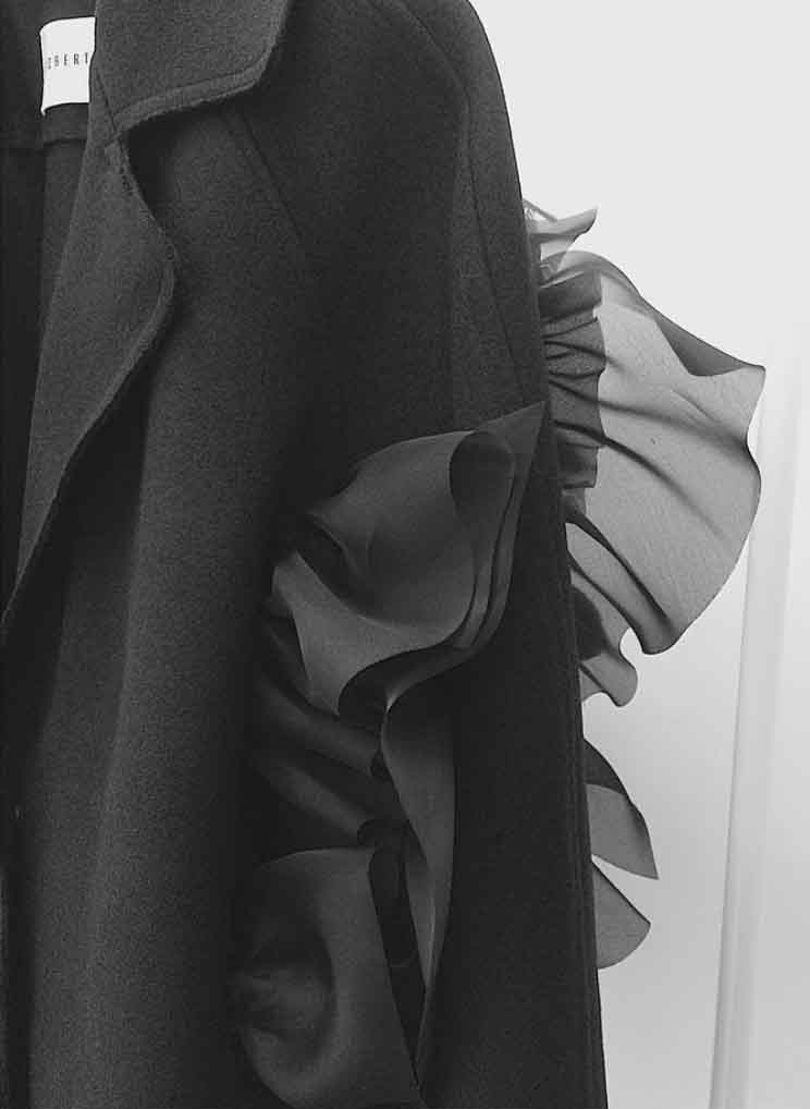 detail | wool and hand-linked silk coat