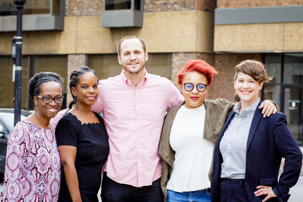 BALT Founders: (from left to right) Dorcas Gilmore, Charlene Dukes, Matthew Zernhelt, Iman Freeman, and Jenny Egan (Photography: Les Talusan)