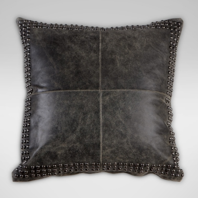 Black Worn Leather Pillow from Ethan Allen