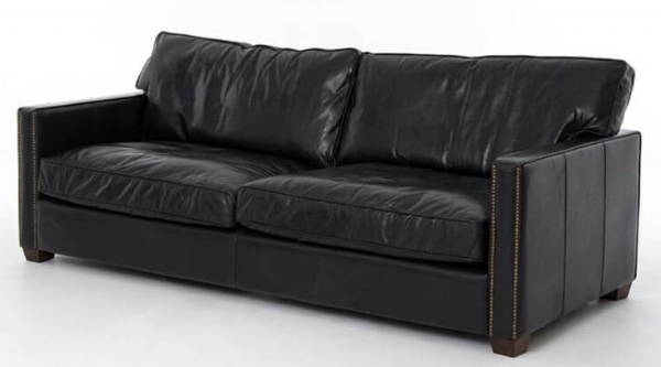 Old Saddle Black Larkin Sofa by Four Hands