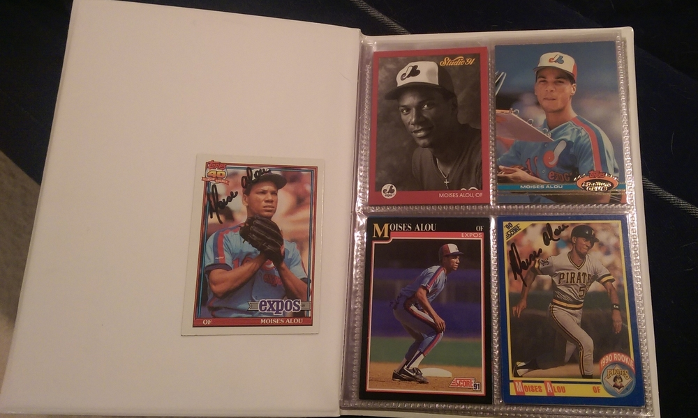 First page of my Alou card album, including the two cards he signed for me.