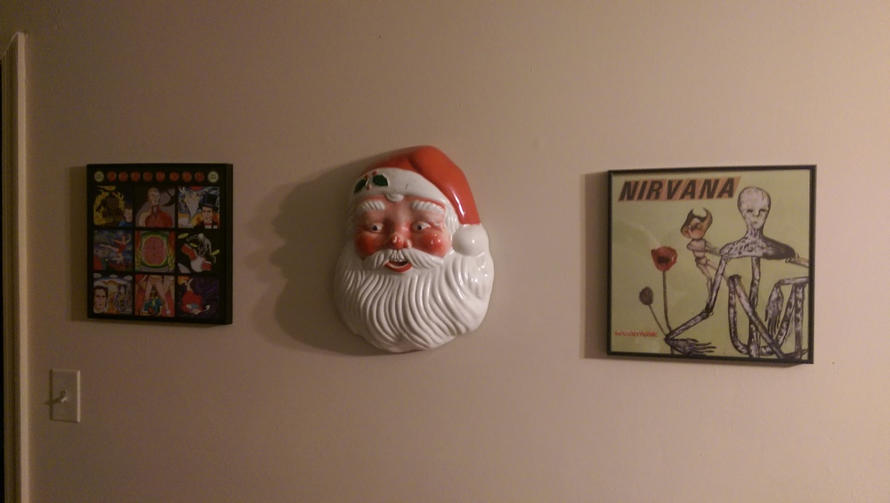 The Santa head Pop gave me prominently displayed in our living room.