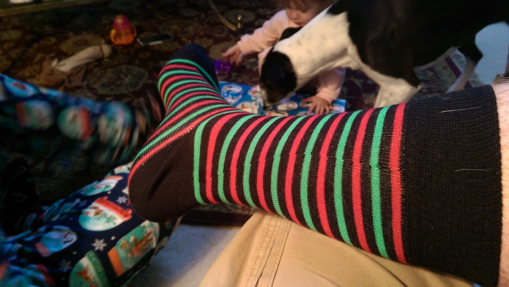 My Christmas socks. Yes, I did wear them with shorts and a Star Wars t-shirt.