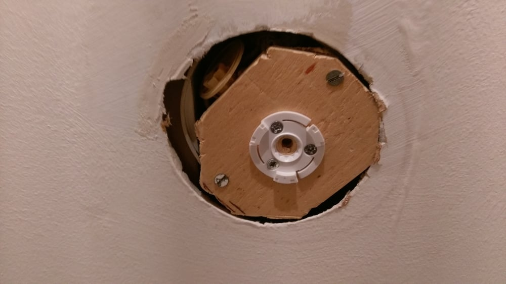 Plywood filling the hole
