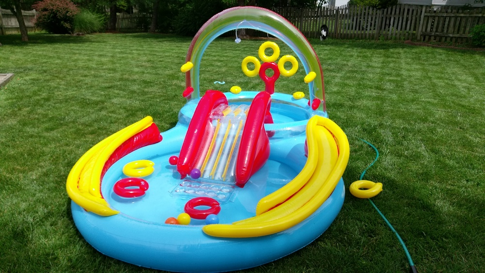 We got Cece a pool for the back yard. The inflatable pool game has really improved.
