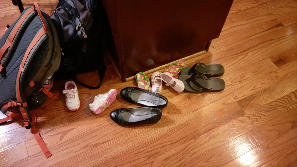 Cece and Rizzo keep a collection of shoes in the kitchen