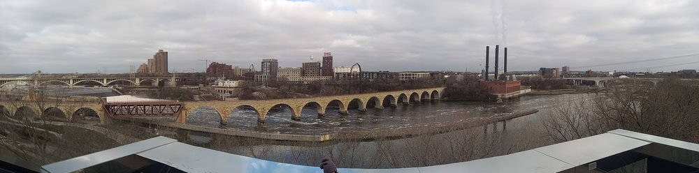 My attempt at a panoramic shot of the river from the Guthrie balcony