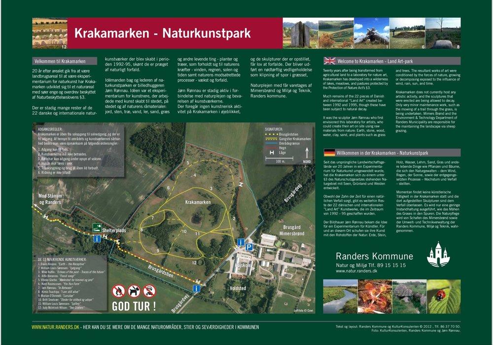Kort over KRAKAMARKEN på 3 sprog. Det forefindes ved indgangen. Krakamarken har seværdighedstegnet på al skiltning til stedet.