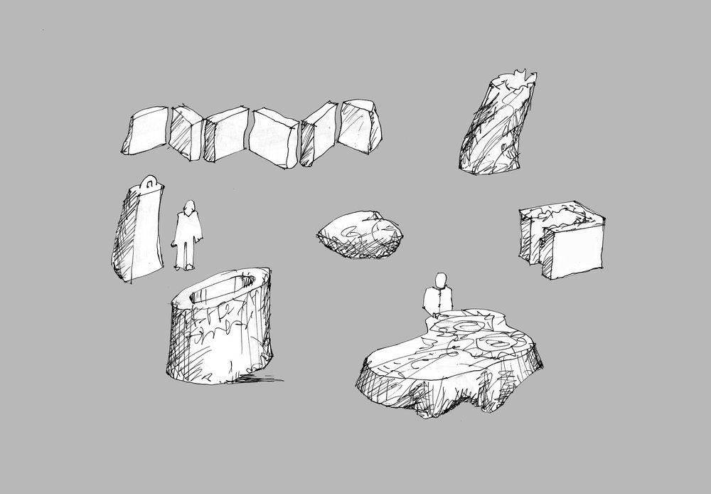 Oprindelig skitse til de syv skulpturer skabt af det store, gamle bøgetræ. Skulpturen Scriptorium er selvsagt inspireret af den runde klosterbygning, hvor munkene kopierede deres bøger. De andre skulpturer har også relation til det enkle kloster-liv. Der er  bordet ,  stolen  og  bogen . Desuden den karakteristiske irske firkantede klokke, St. Patricks Bell, og der er hjertet, som vi alle må have med på rejsen gennem livet - og endelig er der Babylon, sprogforvirringen, med digt-citater på mange sprog.